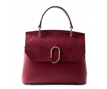 Leather and suede handbag