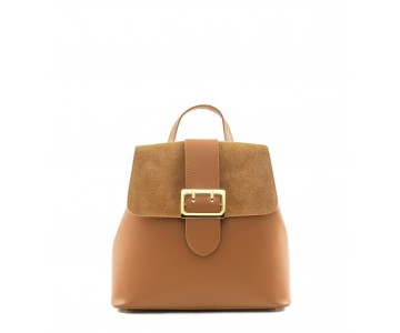 Leather and suede backpack